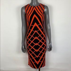 ASOS Orange Black Geo Print Jersey Midi Dress sz 6